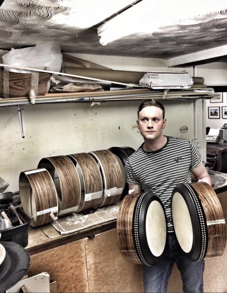 bodhran player Adam Brown with R&A Brown bodhrans
